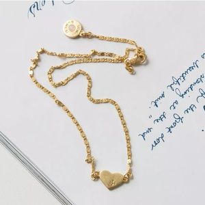 Tory Burch Gold Heart Logo Necklace With Bag